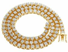 """Mens 10K Yellow Gold Real Diamond 6MM Cluster Tennis Chain Necklace 6 1/5 Ct 24"""""""
