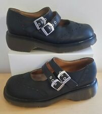 Vtg Dr Doc Martens Wing Tip Double Buckle Mary Jane Black Leather Clog Shoes US9