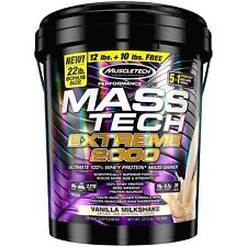 Muscletech MASS TECH Protein Weight Gainer 22 lb Bonus Size VANILLA MILKSHAKE