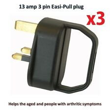 3x BLACK Easy Pull 13A Plugs Handle Arthritis Mobility Disability Aid Helps Grip