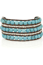 NEW $210 Chan Luu Turquoise & Sterling Silver Nugget Leather Bracelet 5 Rows