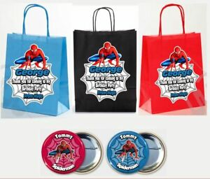 PERSONALISED BOYS BIRTHDAY PARTY PAPER GIFT FAVOUR GIFT BAGS SPIDER MAN ⭐⭐⭐⭐