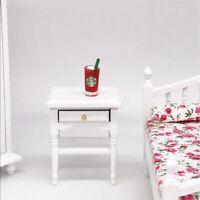 1:12 Puppenhaus Miniatur Möbel Weiß Nachttisch Modell DIY Schlafzimmer Ornament