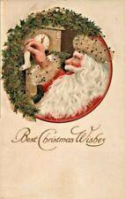 Antique Christmas Postcard  Santa Stocking Glitter Emb Gottschalk #2646  ca 1907