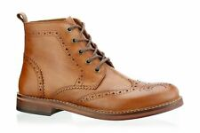 Red Tape Mens Tan Clarendon Leather Boots Brogues Lace Up Leather Sole