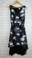 Tokito Fit & flare dress Black, blue, pink floral print V-neck Sleeveless Belted