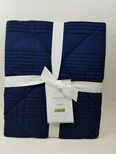 Pottery Barn Pleated Diamond Quilted Sham Navy Blue Standard #2637