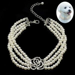 4 Row Pearls Pet Dog Necklace Collar with Bling Flower Charm for Puppy Chihuahua