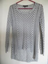 Rock & Republic Gray Silver Metallic Open Knit Top Mesh S