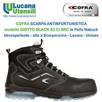 COFRA SCARPA ANTINFORTUNISTICA GIOTTO BLACK S3 CI SRC Pelle Lavoro Unisex Scarpe