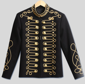 Mens Button Stage Nightclub Jacket Blazers Embroidery Court Coat Stand Collar sz