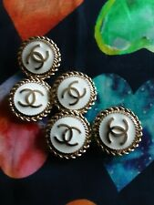 Five  Stamped Chanel buttons 5 pieces   metal cc logo 0,8   inch 22 mm white