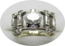 F120215 interessanter Damen Ring Gold 585/14k Weißgold Gr.62 Steine Zertifikat