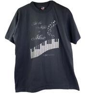 Vintage Mens L Black Single Stitch Set The Night To Music Graphic 90's T-shirt
