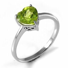 1.3ct Gorgeous Genuine Heart Peridot Solid Sterling Silver Ring Size 8 Ladies