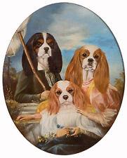 CAVALIER KING CHARLES ENGLISH TOY SPANIEL DRESSED DOG COMIC ART PRINT - CKCS