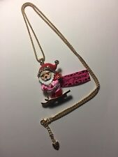 BETSEY JOHNSON  Crystal PINK SKIING SANTA CLAUS Pendant Necklace -BJ6509