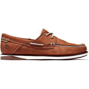 Timberland Mens Break Boat Shoes Soft Brown Leather Lace Up Deck Shoes Size 8-11