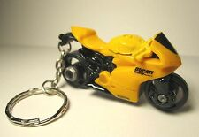 2014 Hot Wheels Yellow DUCATI Panigale Motorcycle Custom Key Chain Ring!