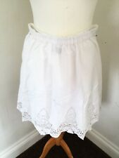 M&S Indingo White  Cotton Lace Skirt 8