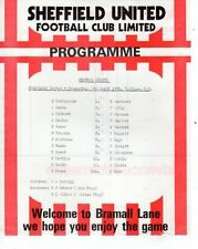 Sheffield United Home Team Reserves Football Programmes