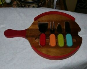"""RARE Vintage 14"""" Wooden Cooking Cutlery SET Fork Spreader Colors & Tray Kitchen"""