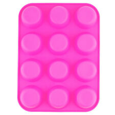 12 Cup Large Silicone Bun/Muffin Non Stick Tin Tray Baking Pudding Mold Pink