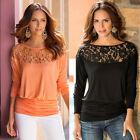 Fashion Women Ladies Loose Casual Long Sleeve T-Shirt Lace Blouse Tops T-Shirt