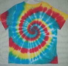 XL T shirt tie dye mens aqua blue teal red lemon sun hippy dead art cotton USA L
