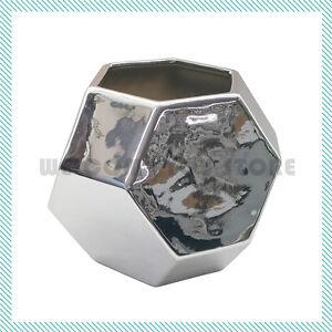 Modern Geometric Vase Silver Ceramic Decor Contemporary Flower Decorative Large
