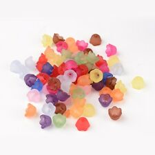 100pc Mixed Color Charming Frosted Acrylic Flower Bead Caps Acrylic Beads 10x6mm