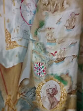 Casca Silk Scarf Square Approx 30X30 Italy Ships Bust Sailboat Seagull Map Green