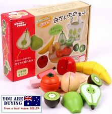 Kitchen Wooden Magnetic Kids Play Set Fruit Cutting Toy Cooking Pretend play