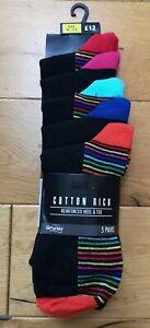 Men's Next Black/Multicoloured Stripe Socks Size 9-11