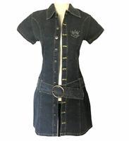 Babe Babe Junior Size S Small Denim Shirt Dress Blue Belt Stretchy Bling NWT