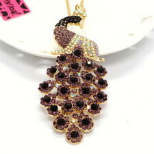 Rhinestone Purple Bling Peacock Crystal Pendant Betsey Johnson Chain Necklace