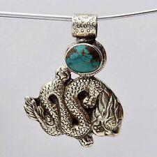 PDS449 Nepalese Artisan Handmade White Metal Turquoise Dragon Carving Pendant