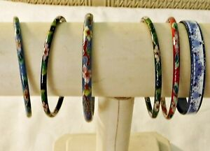 COOL 6 VINTAGE ENAMEL MULTICOLOUR MIXED WIDTH BANGLES STUNNING ALL PATTERNED