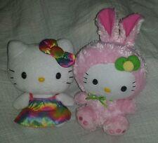 Ty Sanrio Hello Kitty Tye Dye Pink Easter Bunny Stuffed Lot Of 2