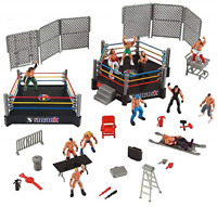 32 Pieces 2 Mini Wrestling Ring Playset with Figures Wrestlers and Accessories