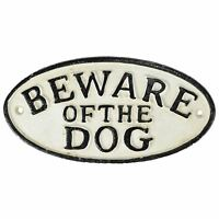"""Beware of Dog"" Cast Iron Sign Plaque Door Wall House Fence Gate Post Garden"