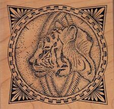 "mosaic tiger taylored art Wood Mounted Rubber Stamp 3 1/4 x 3 3/4""  Free Ship"