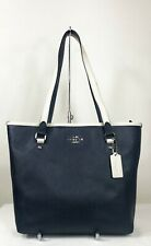 Coach Zip Tote Color Block Midnight Navy White Shoulder Bag Purse F59855
