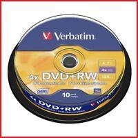 VERBATIM DVD+RW 4.7gb 4x velocidad 120min REGRABABLE DVD Eje Paquete De 10