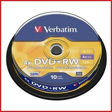 Verbatim DVD+RW 4.7 gb 2x Speed 120min Regrabable Disco Dvd Spindle Pack 10 (43488
