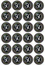 24 x  50th Birthday design Edible Cupcake Toppers  Pre-Cut