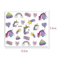 Nail Art Water decals Stickers Transfers Unicorns Stars Rainbow Bows Star WG252