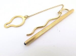 .Stunning Classic Design 18ct Gold Tie Pin with Sapphire Accent 6.4g