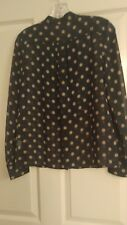 JCrew silk blouse in navy with beige polka dots, size 6