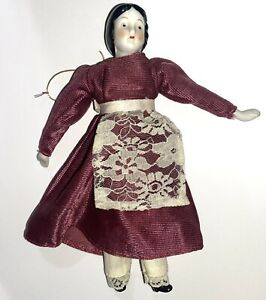 "Antique Circa 1890China Head Girl Doll 7"" Germany Original Clothes Happy Land"